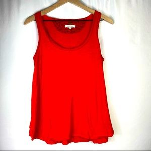 Anthropologie bright red tank frayed accents Small